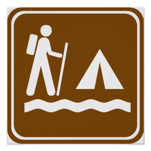 Hiking Trail with Lakeside Camping Highway Sign Poster