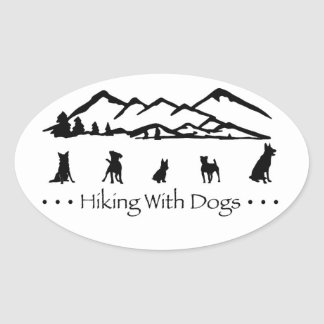 Hiking With Dogs Oval Sticker