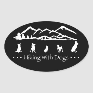Hiking With Dogs Oval Sticker-Black Oval Sticker