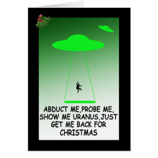 Hilarious alien abduction greeting card