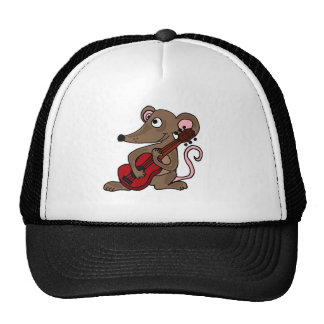 Hilarious Cartoon Mouse Playing Red Guitar Cap