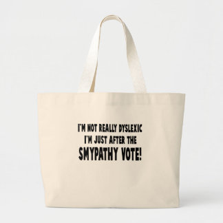 Hilarious dyslexic slogan large tote bag