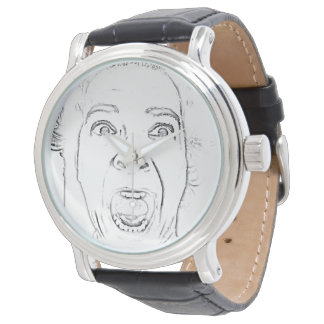 Hilarious Old Lady Screaming Face Wristwatch