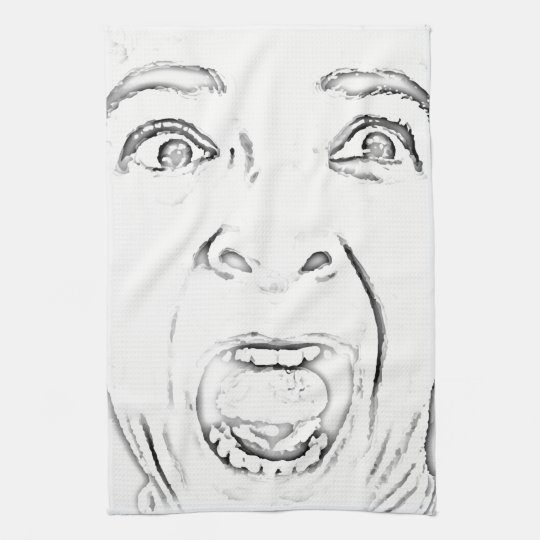 Hilarious Scared Lady Face Black and White Hand