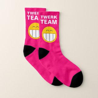 Hilariously Funny Twerk Team Emoji Hot Pink Socks
