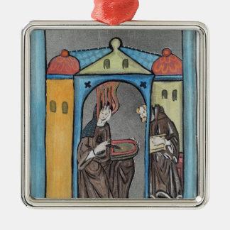 Hildegard of Bingen Silver-Colored Square Decoration
