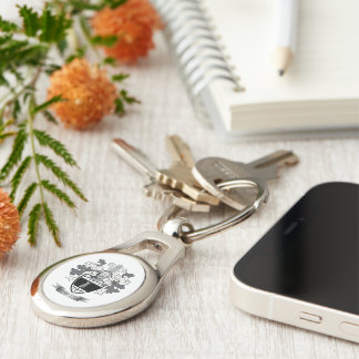 Hill Coat of Arms Silver-Colored Oval Key Ring