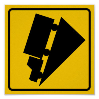 Hill or Steep Grade Warning Highway Sign Print