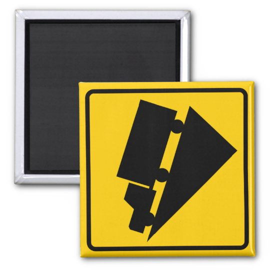 Hill or Steep Grade Warning Highway Sign Square Magnet