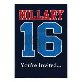 Hillary 2016, Grunge Retro Political Party Custom Invitations