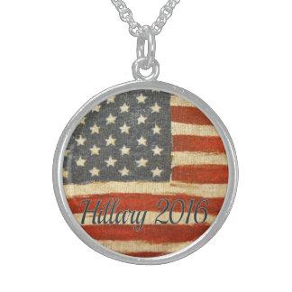 hillary 2016   Vintage Flag circle.jpg Round Pendant Necklace