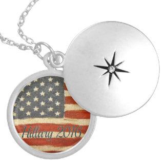 hillary 2016   Vintage Flag circle.jpg Round Locket Necklace