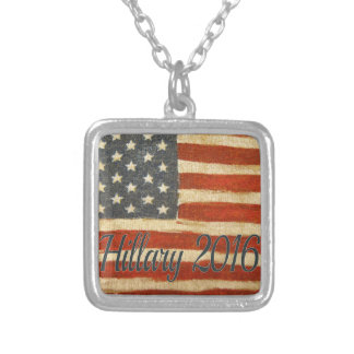 Hillary 2016   Vintage Flag square.jpg Square Pendant Necklace