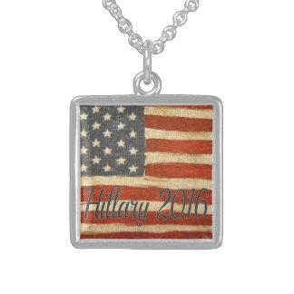Hillary 2016   Vintage Flag square.jpg Square Pendant Necklace