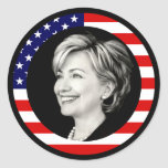hillary clinton 08. us flag. picturesque. round stickers