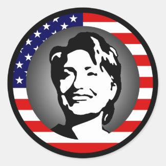 hillary clinton 08. us flag. round sticker