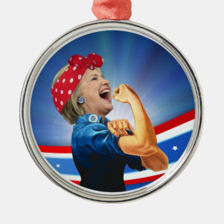 Hillary Clinton 1st Woman Presidential Nominee Silver-Colored Round Decoration