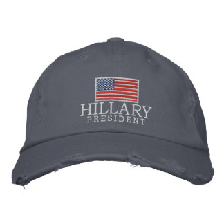 Hillary Clinton 2016 President with American Flag Embroidered Hat