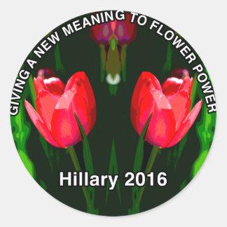 Hillary Clinton 2016 Red Flower Classic Round Sticker