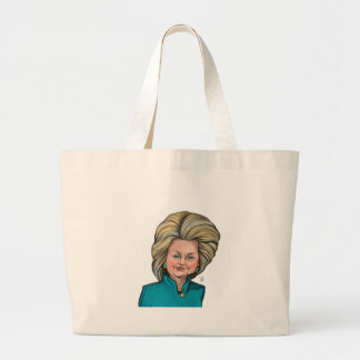 Hillary Clinton Caricature Large Tote Bag