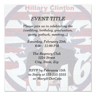 Hillary Clinton for President 2016 13 Cm X 13 Cm Square Invitation Card