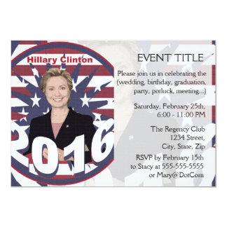 "Hillary Clinton for President 2016 5"" X 7"" Invitation Card"