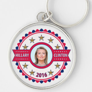 Hillary Clinton for President 2016 Silver-Colored Round Key Ring