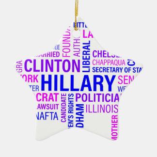 Hillary Clinton for President Ceramic Star Decoration