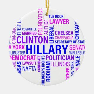 Hillary Clinton for President Round Ceramic Decoration