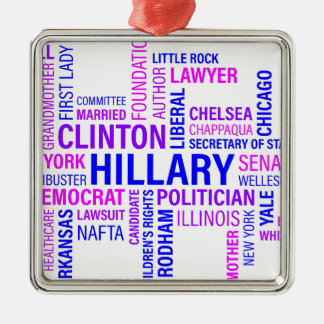 Hillary Clinton for President Silver-Colored Square Decoration