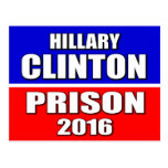 """HILLARY CLINTON FOR PRISON 2016"" POSTCARD"