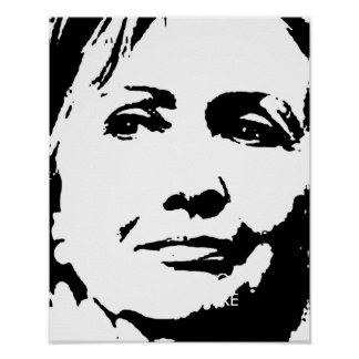 HILLARY CLINTON INK ART POSTER