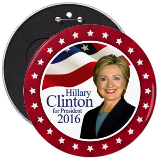 Hillary Clinton President 2016 Jumbo Red Button