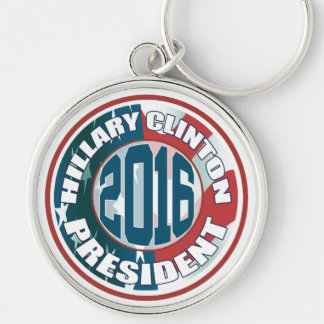 Hillary Clinton President 2016 Silver-Colored Round Key Ring