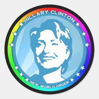 hillary clinton. rainbow. round sticker