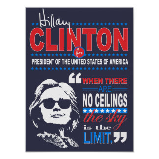"""Hillary Clinton """"Sky's the Limit"""" Quote Poster"""