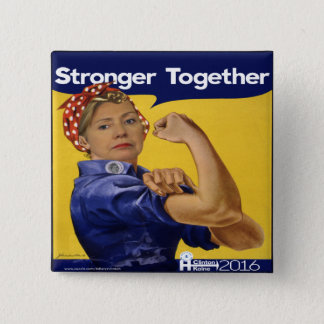 Hillary Clinton Stronger Together 15 Cm Square Badge