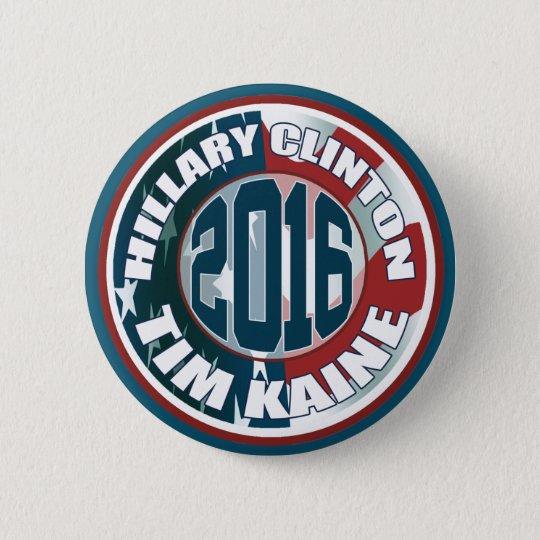 Hillary Clinton Tim Kaine in 2016 6 Cm Round Badge