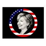 hillary clinton. us flag. picturesque. post card
