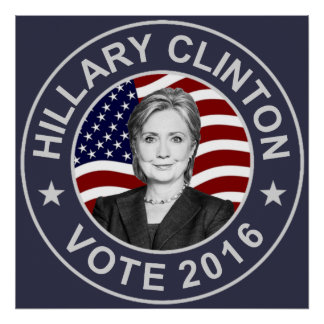 Hillary Clinton US Flag Poster