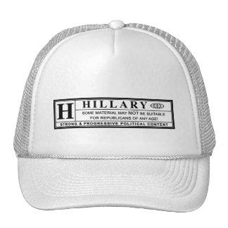 Hillary Clinton warning label Cap