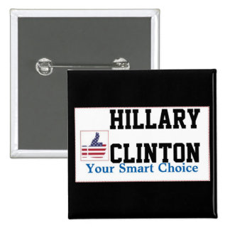 Hillary Clinton's Square Button With Thumb-up Sign