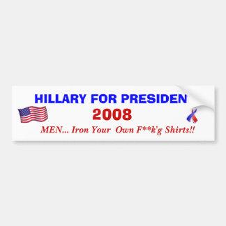 HILLARY FOR PRESIDENT 2008 BUMPER STICKER