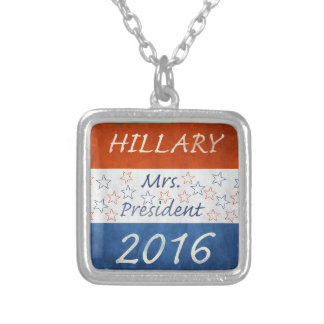 Hillary for President 2016 Silver Plated Necklace