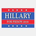 """""""HILLARY FOR PRISON 2016"""" RECTANGULAR STICKER"""