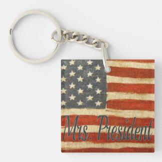 Hillary Mrs President Single-Sided Square Acrylic Key Ring