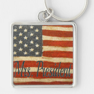 Hillary Mrs President Silver-Colored Square Key Ring