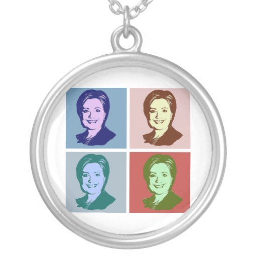 HILLARY POP ART 2016 PERSONALIZED NECKLACE