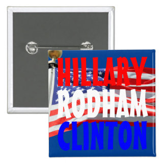 Hillary Running for President American Flag Button