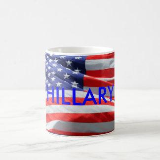 Hillary Running President USA, American Flag, Mug